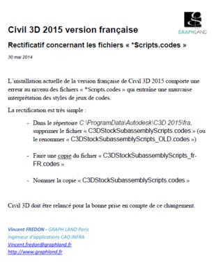 Civil 3D 2015-Rectificatif concernant les fichiers Scripts.codes